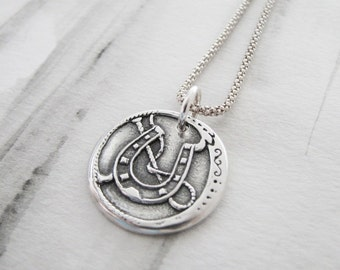 Horse Jewelry, Horseshoe Pendant and Necklace, Recycled Silver, Handmade  Pendant, Fine and Sterling Silver