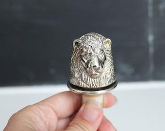 Silver Lion Head Bottle Stopper