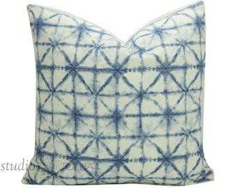Shibori Pillow Cover - Indigo - 20 inch - Indigo Batik - Azure - Linen Pillow - Bohemian -Shibori - Decorative Pillow Cover - ready to ship