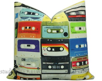 Retro Pillow Cover - mid century - seventies - video cassette - 20 inch - decorative pillow cover - cassette tapes