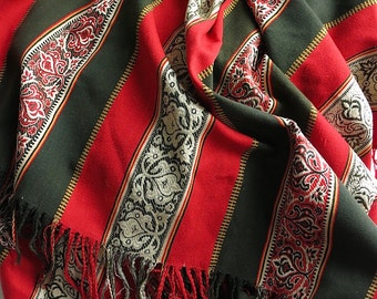 Antique Wool Shawl - 19th Century - Exotic Rich Pattern - Patterned Stripe Turkey Red Olive Green - Victorian Fashion Ladies Accessory