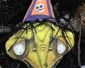Original Handmade and Hand Painted Cloth Witch Halloween Ornament With Creepy Cute Green Face and Folk Art Style