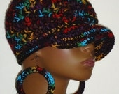 Royal Mix Chunky Crochet Baseball Cap with Hoop Earrings by Razonda Lee Razondalee Ready to Ship Plum Red Blue Gold Black