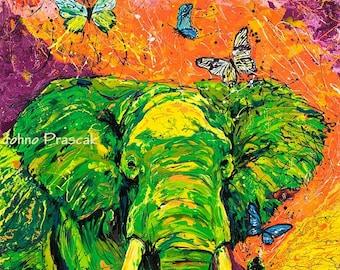 Elephant art, Endangered species, Modern elephant art, Animal wall art, wildlife art, Elephant wall art,  Johno Prascak, Johnos Art Studio