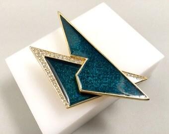 Signed Polcini Ledo Brooch, Vintage Jewelry, Green Brooch Pin, Enamel Jewelry, Rhinestone Jewelry, 1980s Vintage Brooch, 80s Green Pin