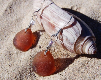 Sea Glass Earrings in Warm Chocolate Brown with Glass Bead Accents on Sterling Silver Ear Wires EBR 26