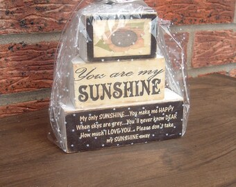 Shabby chic solid pine you are my sunshine  gift set wooden blocks shelf sitters