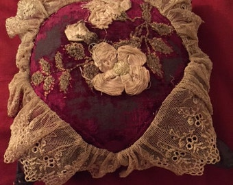 x Shabby Chic Aged Velvet Pillow Pin Cushion with frayed ribbon work flowers, embroidered leaves, ecru lace (FF0816-31J)