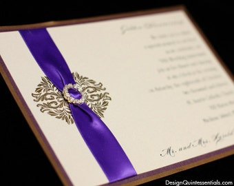 Royal Classic One Panel Wedding Invitation with Rhinestone Buckle