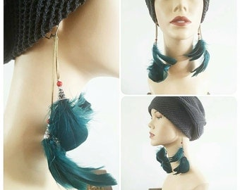 Teal Feather Suede Earrings