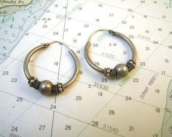 Sterling Silver Hoop Earrings Tibet or India Boho Chic