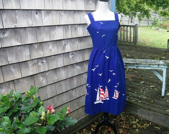 1970s Talbots Cotton Sundress - Sailboats & Seagulls - Blue Red White Small