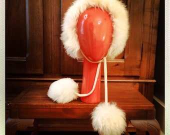 60s NWT Italian Lamb Fur Hat with Fur Ball Ties