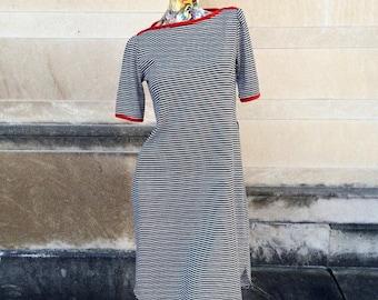 Vintage Red White Blue Nautical Shift Dress small medium