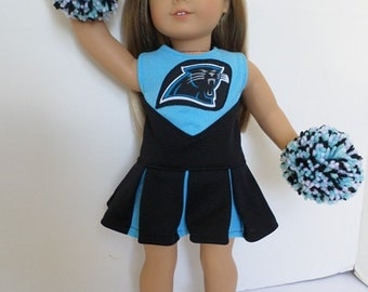 Carolina Panthers Cheerleader, Pom Poms, Shoes for American Girl Doll