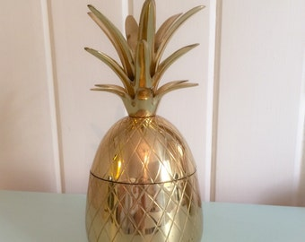9.5 inch brass pineapple container