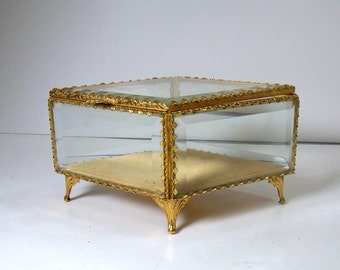 Vintage Glass Casket Jewelry Box / Diamond Shaped Box / Beveled Glass Jewelry Box / Hollywood Regency Style