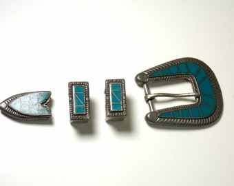 Vintage Buckle Set - Faux Turquoise and Silver Tone Metal - Southwest Style