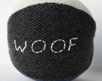 Reclaimed Denim Dog Squeaky Ball toy size small customizable