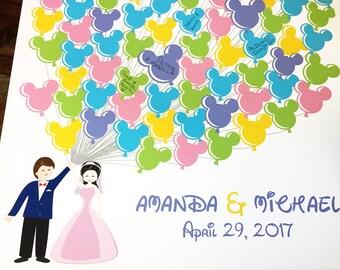 Disney wedding guest book, Disney guestbook, Mickey Mouse Wedding, Fairy tail Wedding, Princess Wedding, Guestbook Print, Guestbook Print