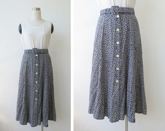 90's Button Front Skirt M Grunge Skirt Long Skirt Floral Rayon Skirt Flared Summer Skirt Button Skirt High Waist Midi Black Skirt M