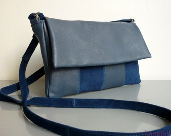 Small shoulder bag blue suede and smooth leather blue
