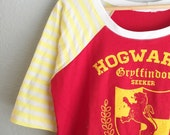 Womens & Girls - Gryffindor Quidditch Harry Potter Raglan, choose your size girls 6 thru womens L