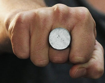 Silver Signet Ring Man Circle Personalized Rings Mens Jewelry