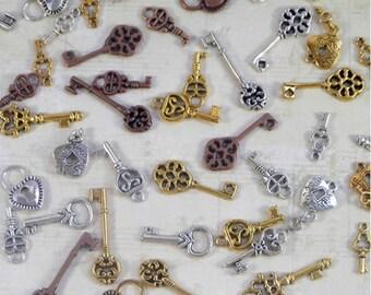 50 locks and keys tiny keys gold silver & bronze  15.00
