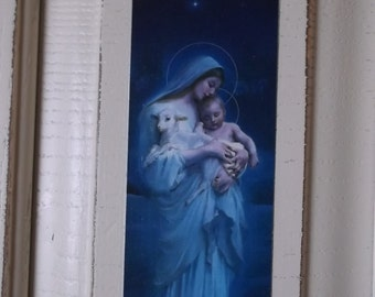 Shabby Cottage, Recycled Wall Decor Madonna and Child blue and white distressed