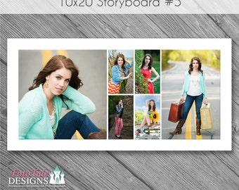 INSTANT DOWNLOAD - 10x20 Storyboard Collage 5 - custom 10x20 photo collage/storyboard template for photographers
