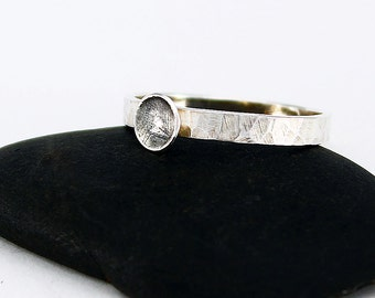 Size 10 Ring Handcrafted Sterling Silver Textured Band Stackable Ring Minimalist Contemporary Artisan Jewelry Design 07804221101114