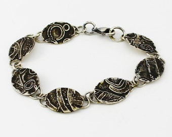 Handcrafted Sterling Silver Bracelet Fused & Hand Stamped Oval Link Collage Design One of a Kind Contemporary Artisan Jewelry 96704480122614