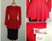 Sale Valentines 1970s to 1980s Long Sleeve Dress by Wiz, Peplem, Red and Black, Size Small, #45491
