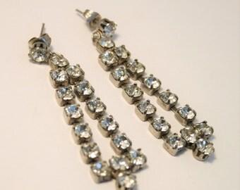 Vintage crystal earrings.  Clip on earrings. Long rhinestone earrings