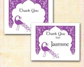 Arabian Nights Thank You Note Cards, Moroccan Arch, Peacock, Custom Name, Purple Lavender, Matching Arabian Nights DIY Printable Invitation