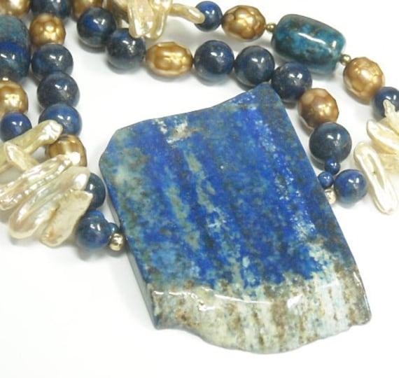 lapis lazuli slab necklace royal blue lapis lazuli gemstone. Black Bedroom Furniture Sets. Home Design Ideas