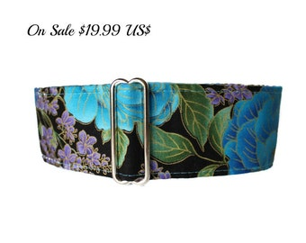 2 inch Martingale Collar, Asian Martingale Collar, Asian Dog Collar, Greyhound Collar, Floral Martingale, Floral Dog Collar
