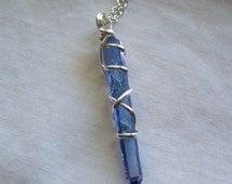 Indigo Blue Tanzanite Aura Quartz Crystal Pendant