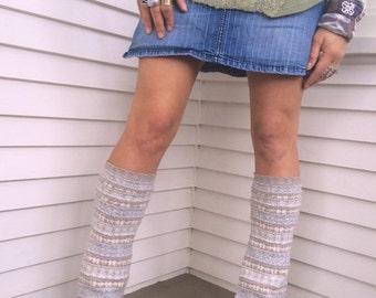 LOVE Sale Eco Leg Warmers,sweater leg warmers, leg warmers, hippie leg warmers, boho leg warmers, cream leg warmers,  fair isle leg warmers,