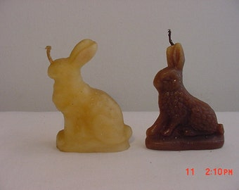 Two Vintage Bunny Rabbit Candles  16 - 494