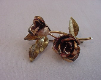 Vintage Gold Tone Roses Brooch   15 - 56