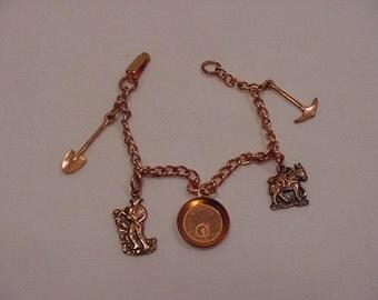 Vintage Copper Gold Miners Charm Bracelet  15 - 108