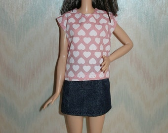 """Handmade 11.5"""" fashion doll clothes - pink and white hearts top anddenim skirt"""