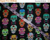 Fabric with skulls heart crossbones cotton skull print quilting sewing material to sew by the yard  crafts crafting