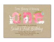 Pink 1st Birthday Invitation, Fun to be One, Girl First Birthday Invite |  Bunny Rabbit 1st Birthday Digital | Printable  | 1516