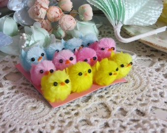 Pastel Chenille Easter Baby Chicks-Supplies-Embellishment-Altered Art-Set of 12-Spring Baby Chicks in Pink, Yellow and Aqua Blue-...