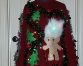 Custom Made 3-D, Ugly Christmas Sweater, Troll Doll, Fun Fur Hair, Light Up, Garland, Naked, Naughty, Men's or Women's, Sweater Party