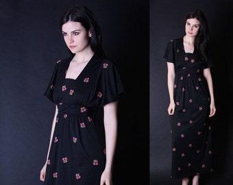 70% Off FINAL SALE - Vintage Maxi Dress  - Vintage Floral Dress  - Black and Pink Dress - Cherry Blossom Dress - 2863