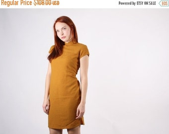 SALE 65% OFF ends 02/16 1960s Mustard Cheongsam Dress  - Vintage Chinese Dress  - The Harvest Moon Dress  - 5105